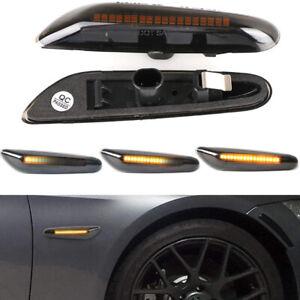 2X-LED-Luces-de-Senal-de-Vuelta-Indicador-Lateral-Ahumado-dinamico-Apto-Para-BMW-E90-E92-E60