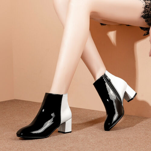 Women Patent Leather Chunky Heels Ankle Boots Side Zip Multi-color Casual Shoes