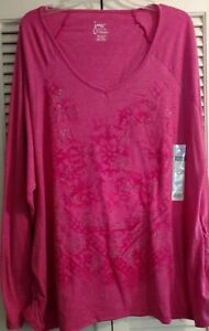 Womens-Top-Pink-Just-My-Size-Vneck-Glittery-Floral-Front-Shirred-Sides-NWT-4X
