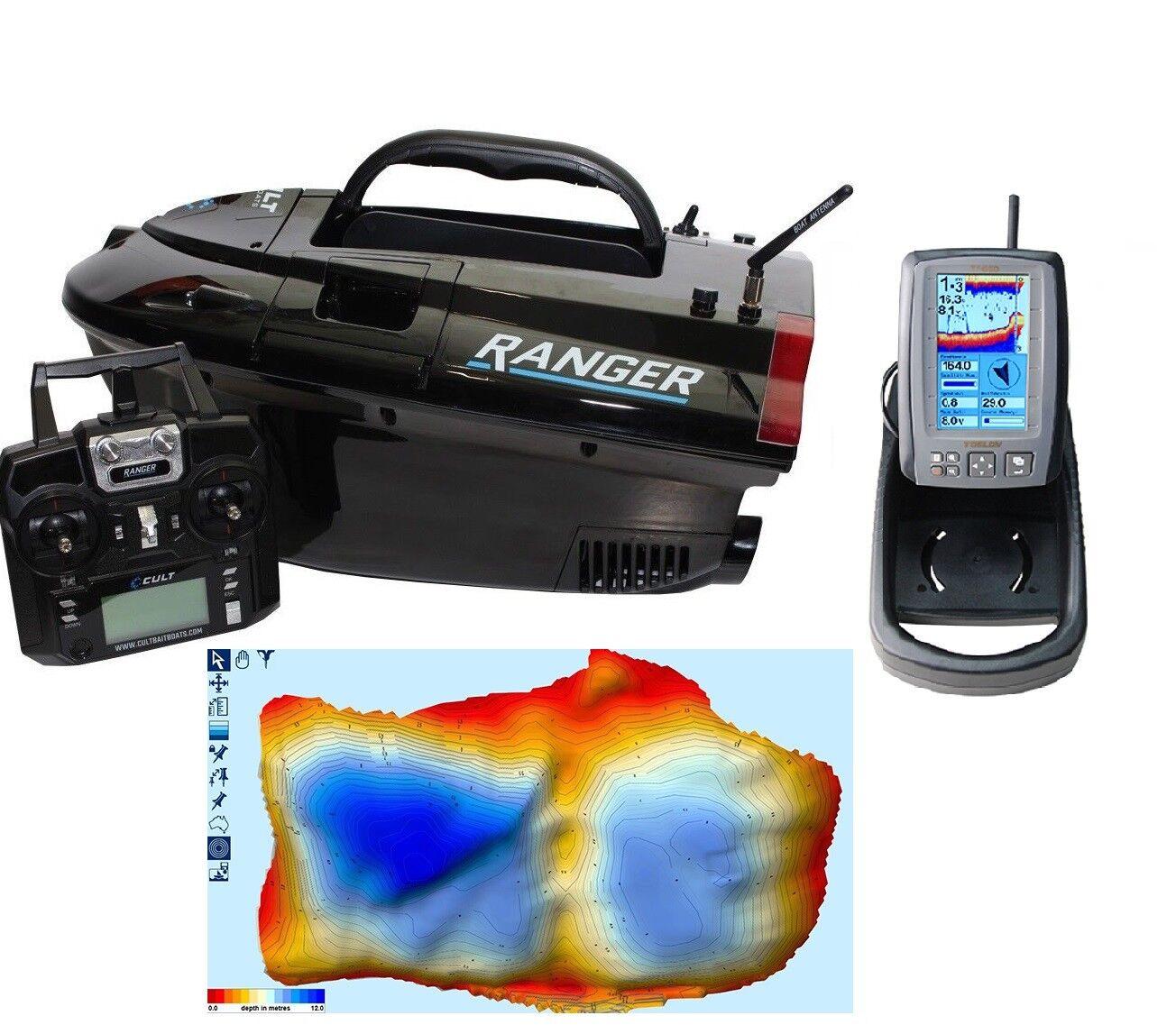 Cult Ranger Pro GPS Bait Boat Complete Complete Boat Range Inc Cult + Toslon Fishfinders NEW 4af441