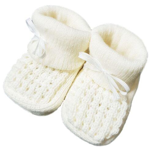 Nouveau Bébé Bébés Garçon Fille Tricot Chaussons Blanc Rose Bleu Crème Taille NB-3M Chaussures