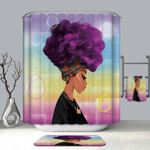 12 Hooks Bath Curtains Decor African Beautiful Woman Art Print Shower Curtain