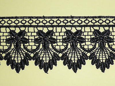 "27.4 METRES - FULL PACK Black Venise Guipure Lace Trim 2.25""/5.5cm Dress Top"