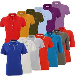 Lacoste-Damen-Kurzarm-Poloshirts-verschiedene-Farben-Groessen-Polo-Shirt-Unifarben