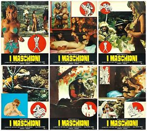 I MASCHIONI FOTOBUSTE 6 PZ. GILLES CARLE 1970 LES MÂLES SEXY 68 STYLE LOBBY CARD