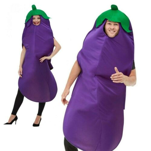 Aubergine Costume Emoji Food Funny Stag Do Adults Mens Womens Fancy Dress Outfit