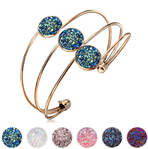 Fashion-Crystal-Quartz-Druzy-Bracelet-Natural-Stone-Gold-Charm-Cuff-Bangle-Gift