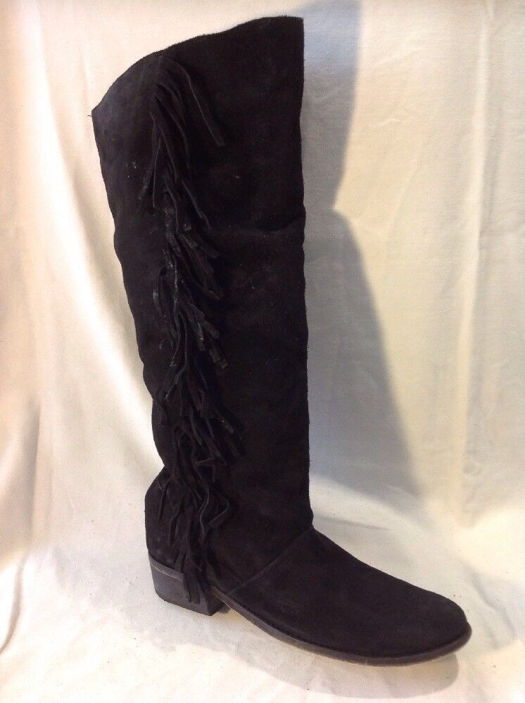Ladies Black Knee High Suede Boots Size 39