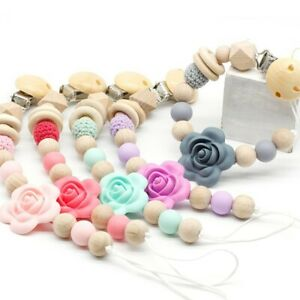 Flower Silicone Beads Wood Baby Nursing Pacifier Chain Clip Dummy Soother Holder