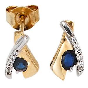 Damen-Ohrstecker-333-Gold-Gelbgold-bicolor-10-Zirkonia-2-Safire-blau-Ohrringe