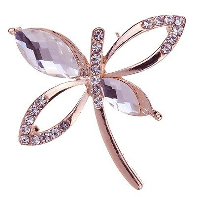 Nice Special Yellow Gold Dragonfly Shape Crystal Brooch Pin Fashion Jewely