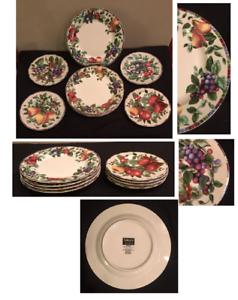 Vintage-SAKURA-by-Oneida-Stoneware-Dinnerware-SONOMA-Pattern-Fruit-8-Piece-Set