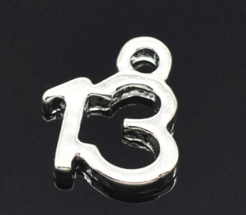 N1 Argent 10 plaque numéro 13 charm//pendentif 11x9mm anniversaire ~ verre vin charms