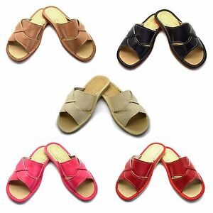Womens-Ladies-Eco-Leather-Slippers-Slip-On-Shoes-Size-3-4-5-6-7-8-Mules-Sandals