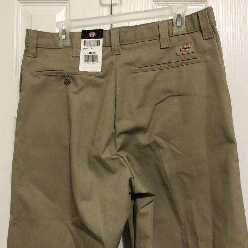 Dickies Men Work Pants Khaki Size 34x32 Slacks Trousers Pockets Belt Loops NEW
