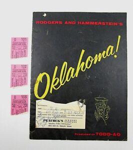 Vintage-Rodgers-amp-Hammerstein-039-s-Oklahoma-1956-Playbill-Program-Book-w-Tickets-A