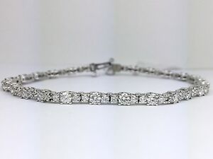 18K-White-Gold-Graduating-Round-Diamond-Tennis-Bracelet-3-50-Carat