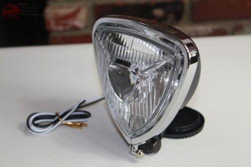 Triangle Headlight Lamp Black Flat Back Custom Motorcycle Chopper Bobber Harley