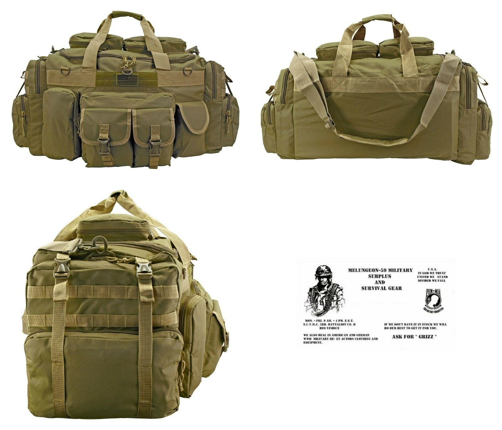 The Tank Duffel Bag +  FREE SURVIVAL BRACELET   B.O.B.  Tactical   Military - TAN  beautiful