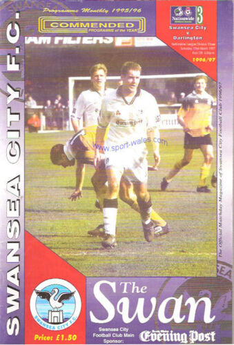 Swansea City v Darlington 22 Mar 1997 FOOTBALL PROGRAMME