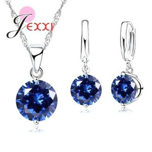 925-Sterling-Silver-Blue-Crystal-Cubic-Zirconia-Necklace-Pendant-And-Earring-Set