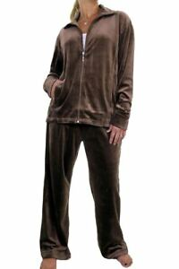 Image is loading Large-Size-Curvy-Womens-Velour-Tracksuit-Chocolate-Brown- b4a7c07f5931