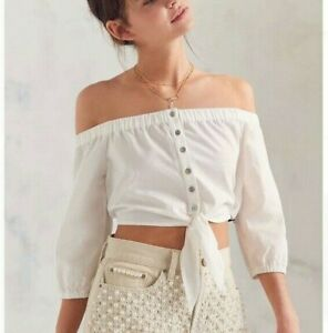 BDG-Urban-Outfitters-White-Off-Shoulder-Tie-Front-Crop-Top-Size-S-Small