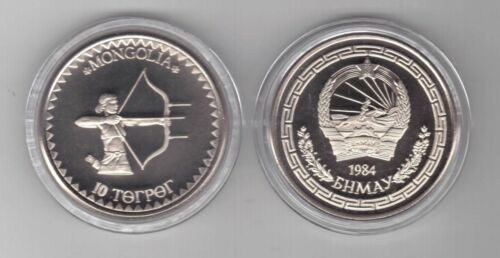 PROOF 10 TOGROG COIN 1984 YEAR X#1 ARCHERY MONGOLIA