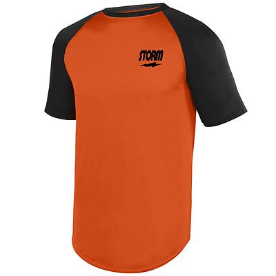 Storm Men/'s Hardball Performance Crew Bowling Shirt Dri-Fit Orange Black