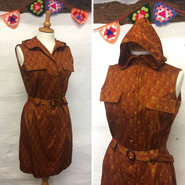 ORIGINAL VINTAGE 60s DRESS ORANGE MUSTARD FLORAL MOD WITH HOOD & BELT SIZE 12