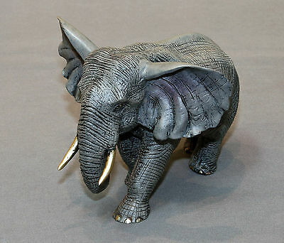 Awesome Bronze Bull Elephant Figurine Sculpture Statue Limited Edition Signed