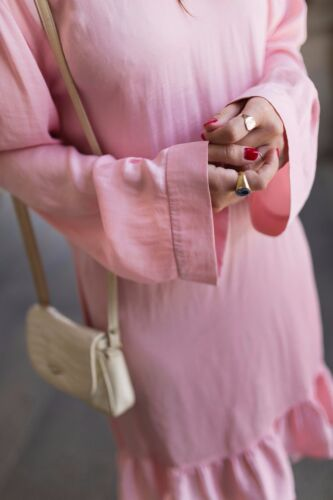 Midi Flounces Taille Belt Dress Zara Ruffle M S fluide froncᄄᆭe Robe L y0wvnNm8O