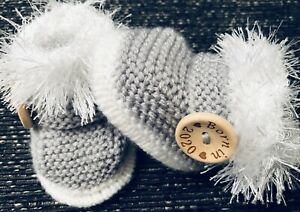 New-Baby-Booties-BORN-IN-2020-0-3Months-Hand-Knitted-By-Annie