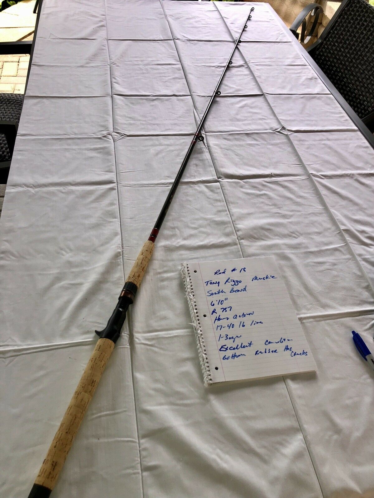 """Vintage South Bend 6'10"""" Muskie  rod (Tony Rizzo Signature Model) - Musky R757  new branded"""