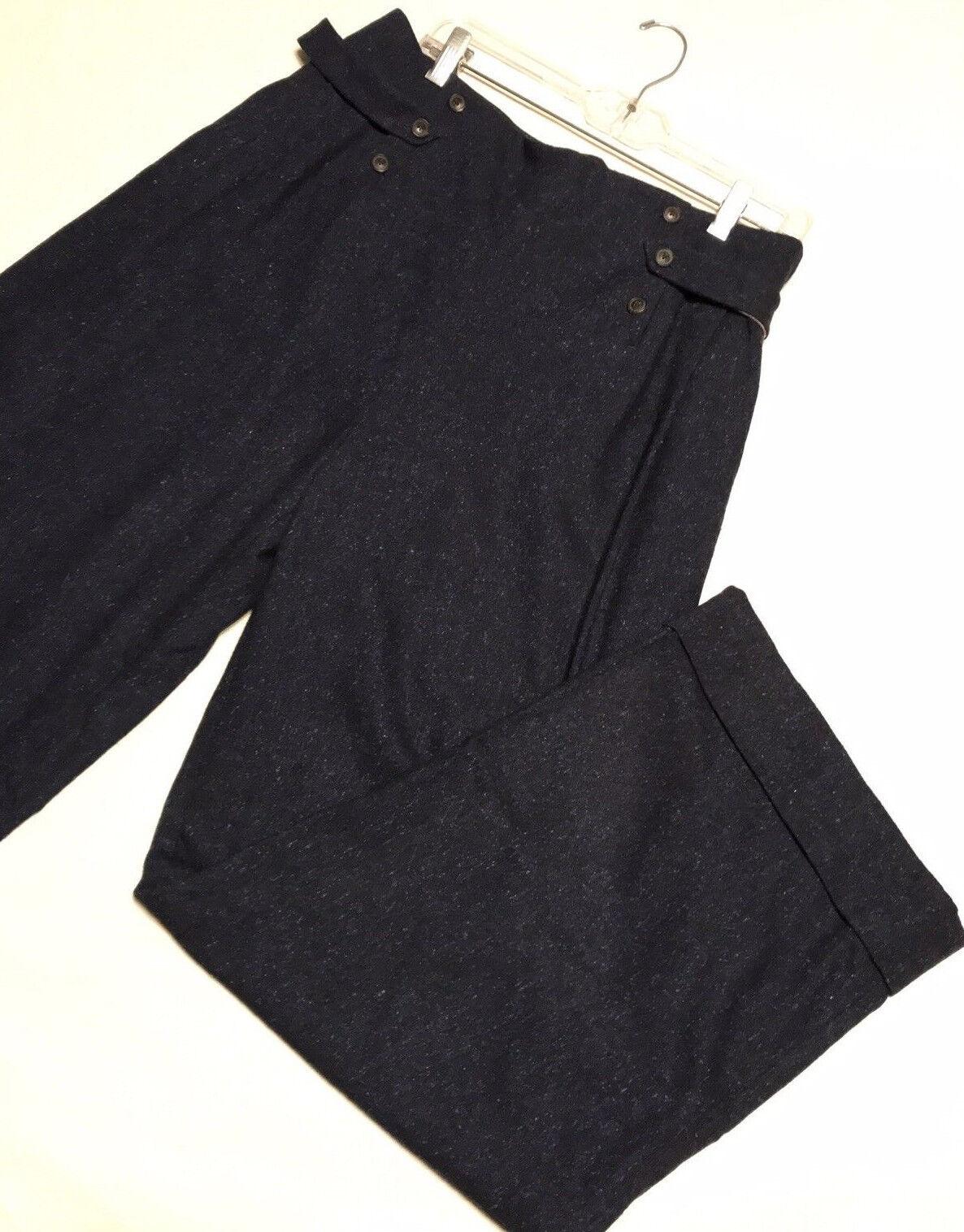 Vintage PORTS Wool Silk Pants bluee Mix Wide Leg Women's Size 12