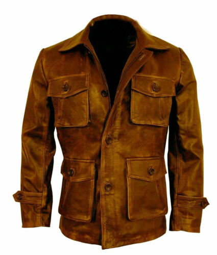 Homme 3//4th marron vieilli Manteau Veste En Cuir Bomber CAFE RACER de mouton véritable
