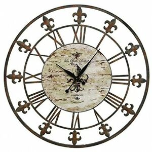 Image Is Loading Metal Wall Clock Iron Frame Art Vintage Decor
