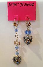 NWT Rare Betsey Johnson Mismatch Blue Heart Flower Dangle Crystal Bow Earrings