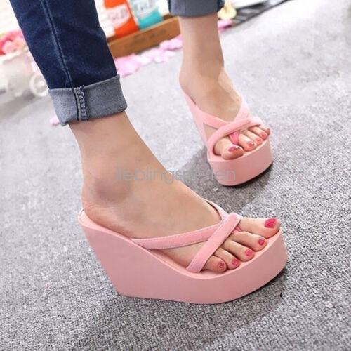 Damen Schuhe Sandalen Flip Flops Keilabsatz Strand Zehentrenner Wedge Sommer FL