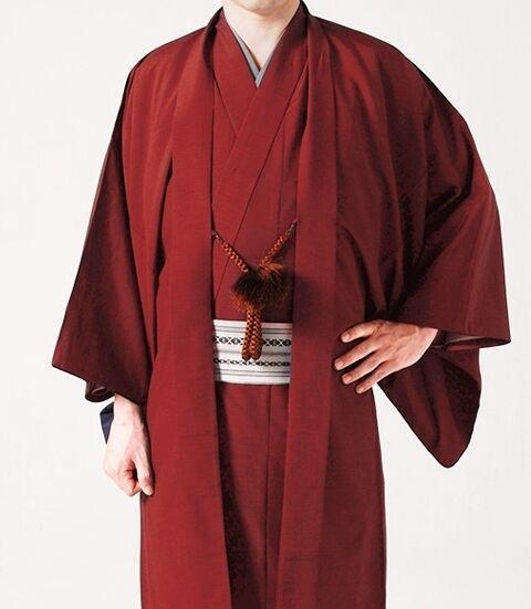 Japanese Men's Traditional Kimono HAORI Jacket Coat Red from JAPAN