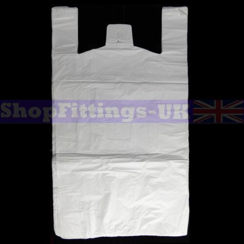 "300x Plástico Blanco Chaleco bolsas de transporte para puestos shopping//retail bolsas de 16 /""X25/"" x29 /"""