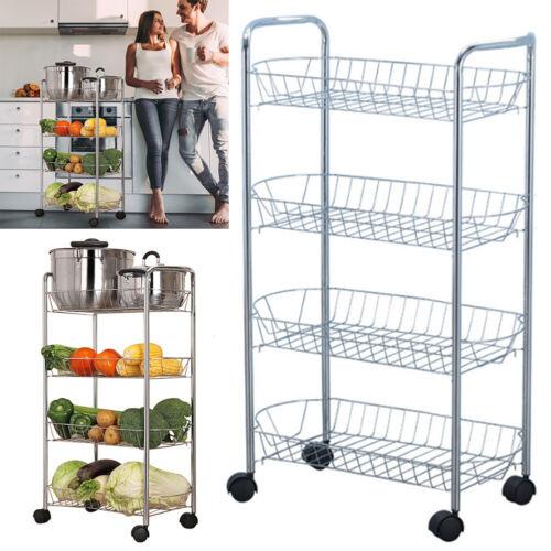 4 Tier Metal Wire Kitchen Trolley Vegetable Fruit Storage Cart Rack with Wheels
