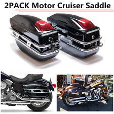 Black Hard Saddle Bags Trunk Luggage Motorcycle Cruiser For Harley Us Stock Qz