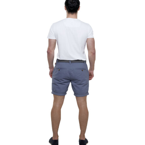 Mens Belted Chino Short Navy Stone Khaki Pink Cotton Holiday Broken Standard