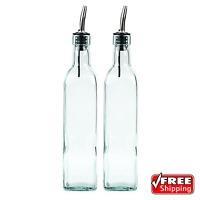 Glass Olive Oil And Vinegar Dispenser Cruet Bottle Pourer Spout 16 Oz Set Of 2