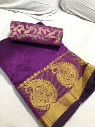 Indian Cotton Silk Saree Traditional Ethnic Kanjipuram Indian Sari Party wear 1