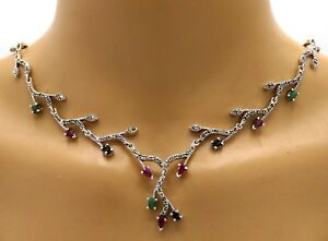 Collier-Bracelet-amp-Studs-Emerald-Sapphire-Ruby-Marcasite-925-Sterling-Silver