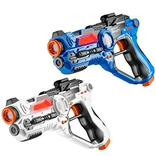 Toydaloo SET OF 2 Infrared Laser Tag Game Guns Indoor//Outdoor Blue and White Gun