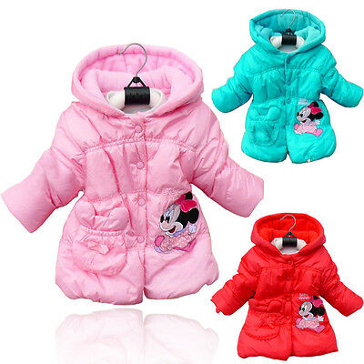 2-5T Girls Kid Princess Mickey Minnie Mouse Winter Jacket Hooded Coat Outwear