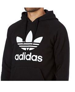 Détails sur Adidas Orig 3 Feuille Capuche, Sweat Shirt, NoirNoir afficher le titre d'origine